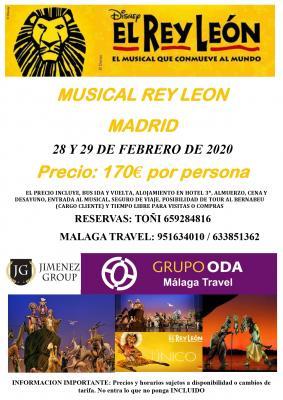 MUSICAL REY LEON 28 Y 29 DE FEBRERO 2020